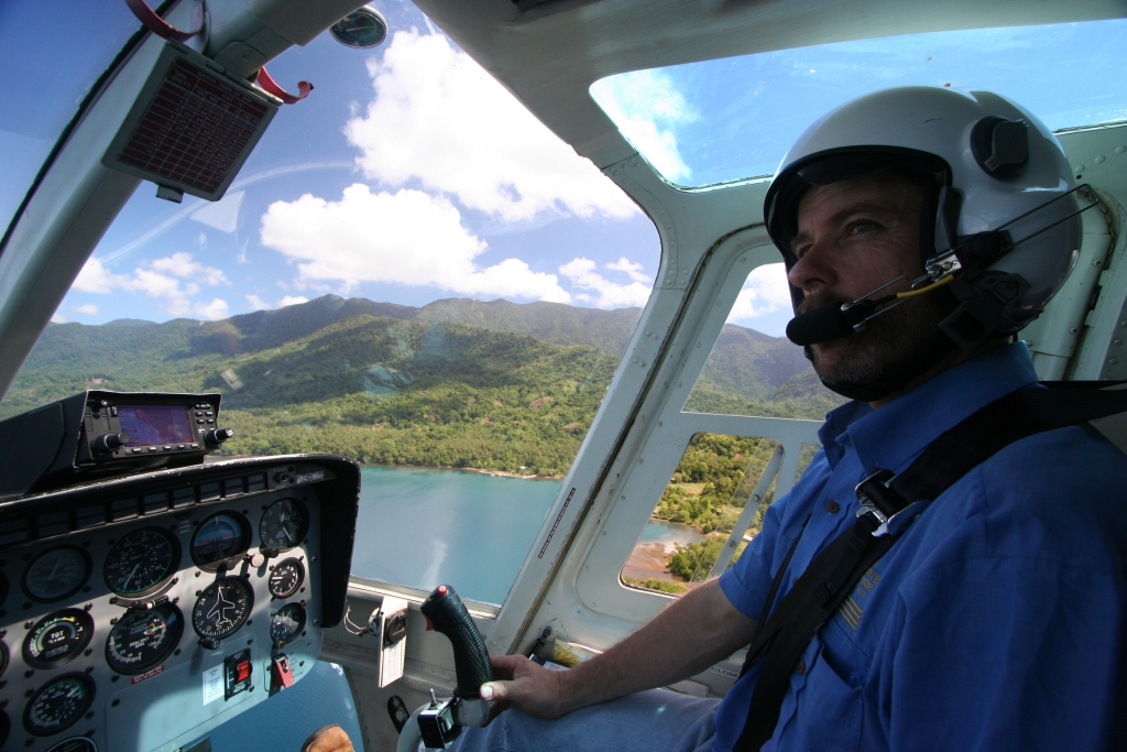 Traveling to our village Boya-Boya with helicopter pilot Dave Mathieson